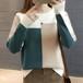 【トップス】カジュアル長袖ラウンドネック切り替え配色ニットセーター24155882