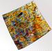 墨流し染プチスカーフ 黄青(35x35cm)-PS02