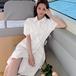 【dress】売り切れ必至スウィートチュニックパフスリーブ4色デートワンピース M-0320