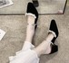 レディース パンプス サンダル ポインテッドトゥ ビーズ アンクルストラップ チャンキーヒール スエード 春夏 脱げない 美脚 脚長 韓国