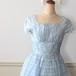 SALE~Vintageチェック柄水色のドレス(訳有り)