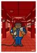 《山本周司 イラストポストカード》CY-18/ 駅ホーム清掃員(女)