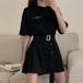 Tシャツ ワンピース ベルト付き ブラック 韓国ファッション レディース Tシャツワンピース 黒 無地 ラウンドネック オーバーサイズ 半袖 Aライン シンプル 大人可愛い ガーリー DTC-619791273575_bk