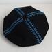 さかなの骨刺繍ベレー/黒×ブルー