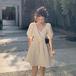 【dress】気質溢れる エレガントvネックリボンチュニックデートワンピース2色