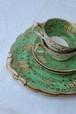 1920年代 ケーキプレート イギリス グリーン×ゴールド