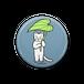 缶バッジ・葉っぱの傘をさす猫