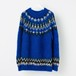 MOHAIR NORDIC KNIT SWEATER BLUE