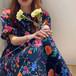 【送料無料】ワンピース ロングワンピース 花柄ワンピース 花柄 フラワー パフスリーブ ボタニカル お洒落 大人可愛い ガーリー ゆったり リラックス デート お出かけ ママコーデ ネイビー 春夏