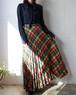 70's Pleats checked skirt