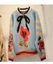 秋冬新作♪お目立ちカラフルニット ジップアップ セーター トップス レディース 花柄 フローラル