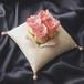[送料無料]中心にバラを飾ったコットンジャガードのリングピロー