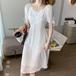【dress】人気アイテム ! 爽やかな印象シンプル無地スウィートデートワンピース2色
