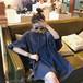 【送料無料】ミニ丈 ワンピース 5分袖 ボリューム袖 フリルスリーブ 体型カバー ネイビー ホワイト ブラック(A632)