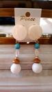 ターコイズとアクリルボールのイヤリング ベージュMIX