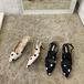 レディース パンプス サンダル バックストラップ ドット柄 ポインテッドトゥ キトゥンヒール 履きやすい 春 黒 ブラック 白 ホワイト 韓国