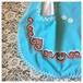 ヴィンテージリネン エプロン ライトブルー 刺繍
