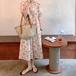 【dress】定番シンプルス ウィートパフスリーブチュニック花柄ワンピース2色