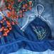 (040) 藍染ブラ 《ボタニカル刺繍》フリーサイズ