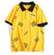 ユニセックスオーバーサイズロゴポロシャツ黒/黄