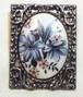 アンティークブローチ 花柄のガラスの四角いブローチ コスチュームジュエリー 1163B