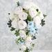 【プリザーブドフラワー】セミキャスケードブーケ(ホワイト&ブルー)