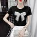 【tops】流行に流されない リボン人気デザインゆったり2色Tシャツ着心地良い M-0386