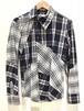 Vivienne Westwood ヴィヴィアン ウエストウッド マンライン アシンメトリー L/Sシャツ サイズ44 グレー×ネイビー