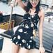 【送料無料】キュート 水着 タンキニ ツーピース フレアスカート 花柄 黒 ホルターネック リゾート 夏 プール