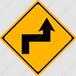 【イラスト】右背向屈折ありの 交通標識