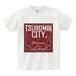 TSUBOMIN / BANDANA TSUBOMIN CITY T-SHIRT WHITE x BURGUNDY