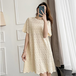 【dress】輝いて超人気 ! 透かし彫りニット シンプル無地デートワンピース3色