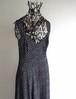 1980's〜90's USA製 [RAMPAGE] ジャンパースカートタイプ スリーブレスロングドレス 小花柄 ブラック×ホワイト 表記(US 5) ヴィンテージ ワンピース