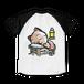 <ラグランTシャツ ホワイト×ブラック>両面印刷 おやすみーちゃん