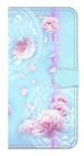 【iPhone7Plus/iPhone8Plusa】Peony Dream 芍薬の夢 ライトブルー 手帳型スマホケース