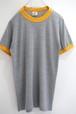 1980's downerwear リンガーTシャツ 無地 グレー×黄 実寸(XS〜S位)