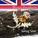 英国 Ward Brothers ★ SV925 あざみ 琥珀 ラインストーン ヴィンテージ スコティッシュ ブローチ 1940s ケルティック