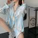 【outer】韓国系超人気カジュアルドット柄プリントシャツゆったり合わせやすい M-0281