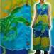 S~Lサイズ【アメリカ製古着】1960年代ヴィンテージ◆「Kiyomi HAWAII」◆ハワイの波にパイナップル◆マキシ丈(ロング)ワンピース