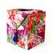 和風インテリア雑貨 アンティーク着物・古布リメイク ティッシュボックス 赤紫・花づくし紋様