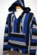 1970's~80's メキシカンパーカ 青×黒×白 表記(L) バハジャケット バハフーディー