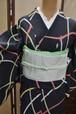 【夏着物】駒絽☆地にカラフル笹の葉