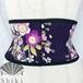 振袖の着物コルセット(濃紫)Purple flower motif kimono corset