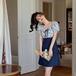 【dress】ファッションand清新!切り替えランタンスリーブリボン花柄ワンピース