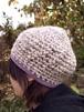 杢糸の壺型きのこニット帽【パープル系】
