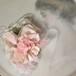 ピンクフェザーと薔薇のロマンチックなVintageコサージュ