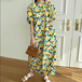【dress】清新人気デザインスウィート優しい雰囲気花柄ワンピースベルト付2色
