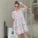 【dress】売り切れ必至スウィートVネック折り襟パフスリーブデートワンピース M-0454