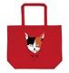 猫トートバッグ「ミケ」たっぷり大容量 L サイズのトートです! レッド