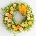プリザーブドフラワー リース-M 「サニーイエロー・オレンジのバラとフレッシュグリーンモスのお日さまリース」/黄色・オレンジ/直径23cm